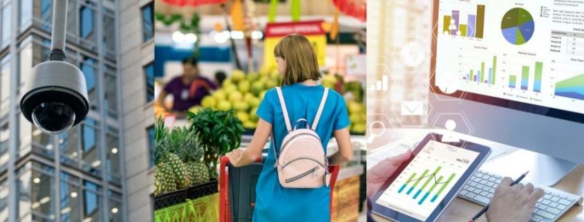 ollage de 3 fotos. La primera una camara de seguridad. La segunda una persona commprando en un supermercado. La tercera, una PC y una tablet con analisis de datos.
