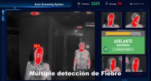 Imagen camara termográfica con medición de temperatura de personas