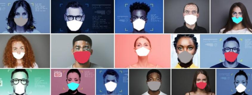 Rostros de gente con mascaras digitales para la representacion del reconocimiento facial en seguridad