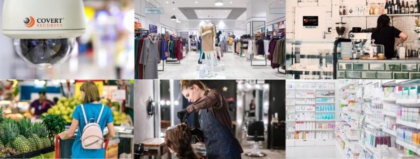 imagen que muestra el interior de una farmacia, un supermercado, una peluqueria, una tienda de ropa y una cafeteria para graficar la noticia que hay a continuación
